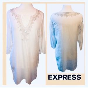 Cotton/Silk Beach Cover Up Embroidery and Sequins